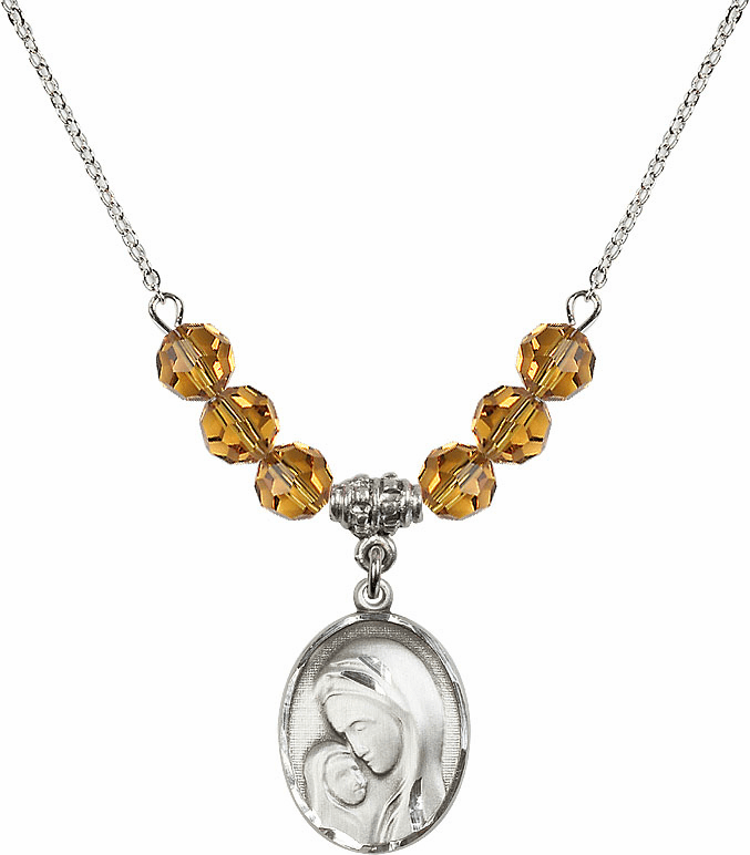 Sterling Silver Madonna and Child Sterling November Topaz Swarovski Crystal Beaded Necklace by Bliss Mfg