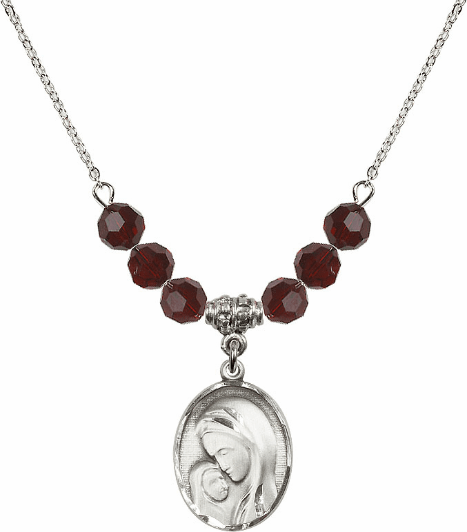 Sterling Silver Madonna and Child Swarovski Crystal Beaded Necklace by Bliss Mfg
