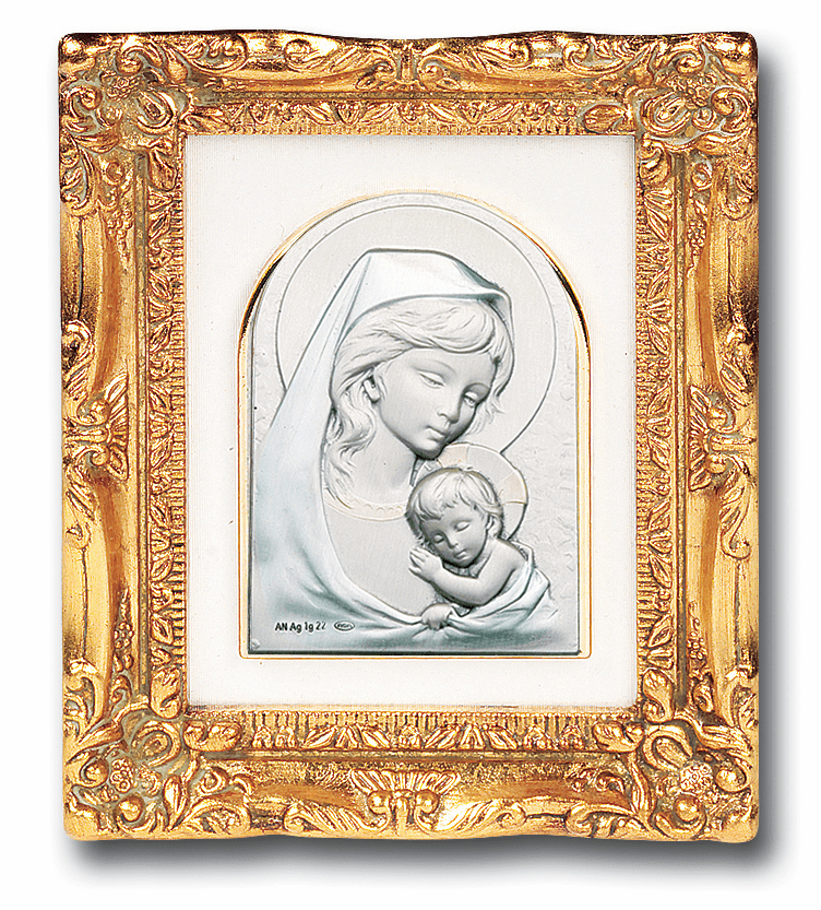 Sterling Silver Madonna and Child w/Antique Gold Leaf Frame Picture by Salerni
