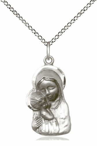 Sterling Silver Madonna & Child Pendant Necklace by Biiss