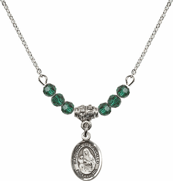 Sterling Silver Madonna Del Ghisallo Sterling May Emerald 4mm Swarovski Crystal Necklace by Bliss Mfg