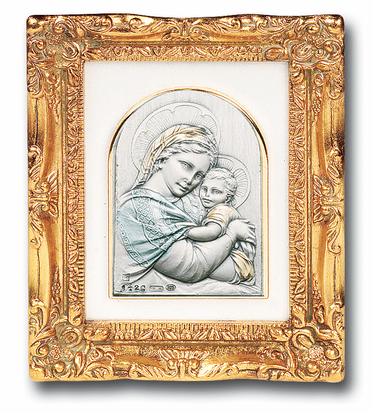 Sterling Silver Madonna of the Chair w/Antique Gold Leaf Frame Picture by Salerni