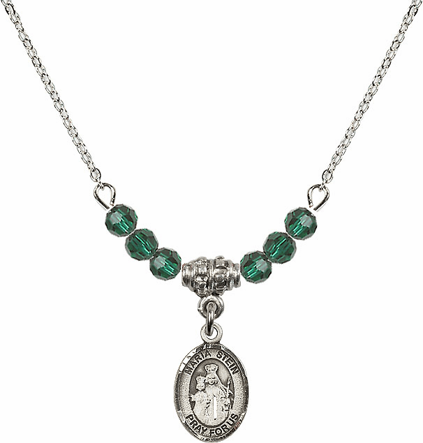 Sterling Silver Maria Stein Sterling May Emerald 4mm Swarovski Crystal Necklace by Bliss Mfg