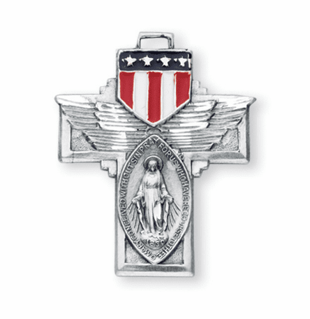 Sterling Silver Military Miraculous Medal Epoxy Shield Necklace by HMH Religious