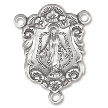 Sterling Silver Miracluous Medal with Flowers Rosary Center Parts by HMH Religious