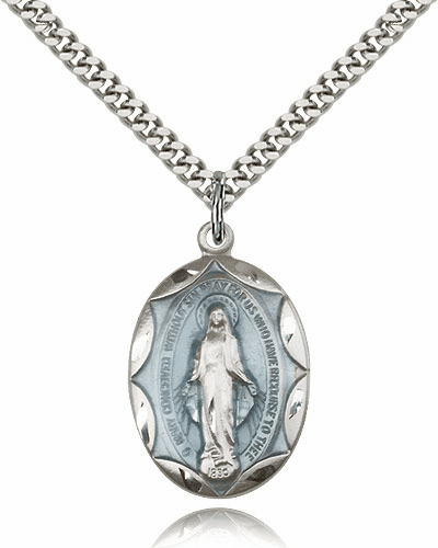Sterling Silver Miraculous Blue Pendant Necklace by Bliss