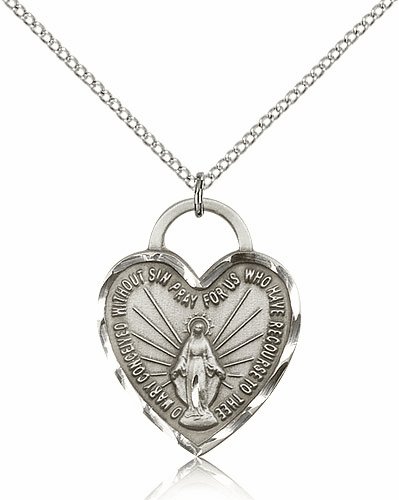 Sterling Silver Miraculous Heart Pendant Necklace by Bliss
