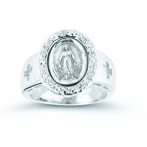 Sterling Silver Miraculous Medal Ring w/Crosses