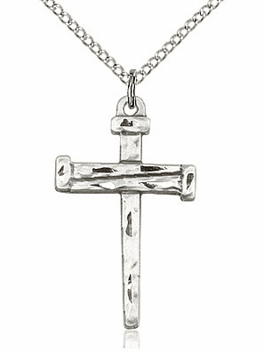 """Sterling Silver Nail Cross Pendant w/18"""" Chain by Bliss Mfg"""