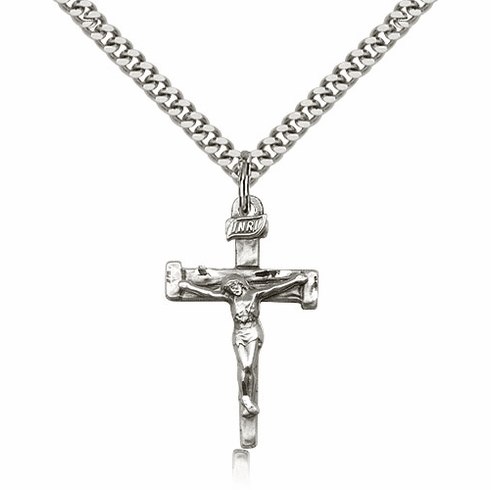 """Sterling Silver Nail Crucifix Pendant w/18"""" Chain by Bliss Mfg"""