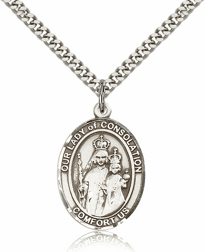 Sterling Silver Our Lady of Consolation Patron Pendant Necklace by Bliss Mfg