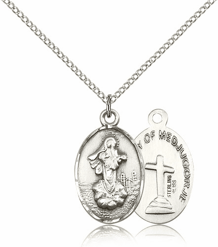 Bliss Mfg Sterling Silver Our Lady of Medugorje Pendant Necklace
