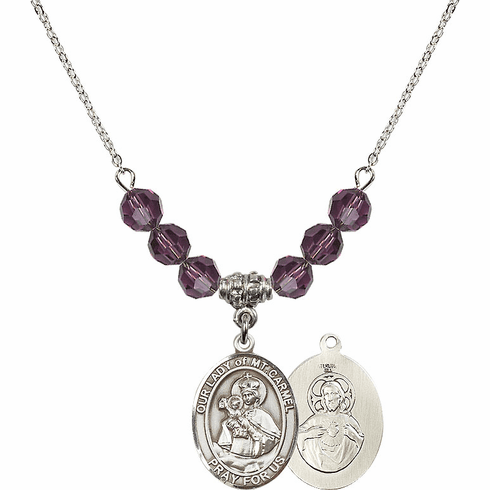Our Lady of Mount Carmel Sterling February Amethyst Crystal Beaded Necklace by Bliss Mfg