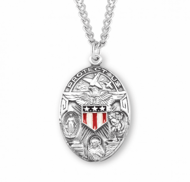HMH Religious Sterling Silver Oval Military 3-Way Enameled Shield Necklace