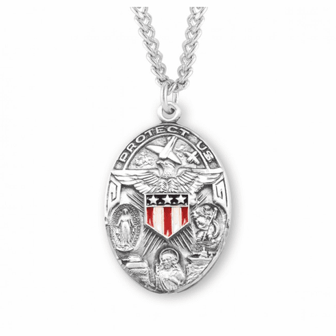 Sterling Silver Oval Military 3-Way Enameled Shield Necklace by HMH Religious