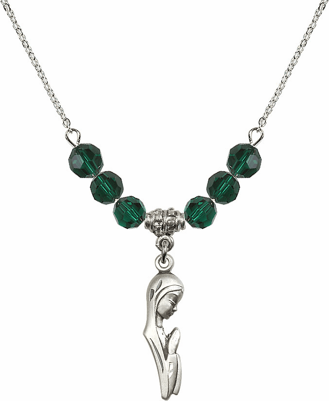 Sterling Silver Praying Madonna Sterling May Emerald Swarovski Crystal Beaded Necklace by Bliss Mfg