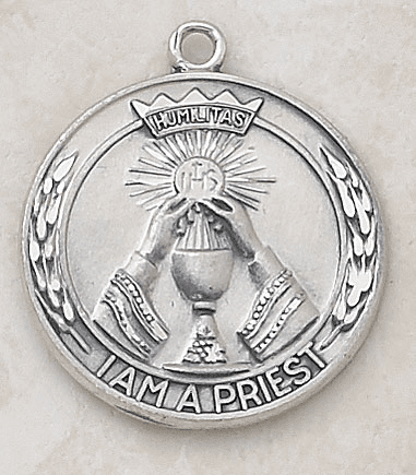 Sterling Silver Priest Special Devotion Medal Necklace by Creed Jewelry