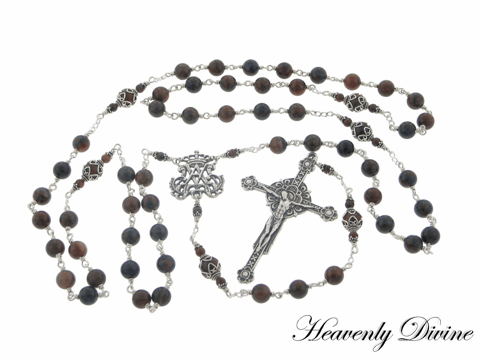 Sterling Silver Renaissance Pietersite Wire Wrapped Rosary by Heavenly Divine