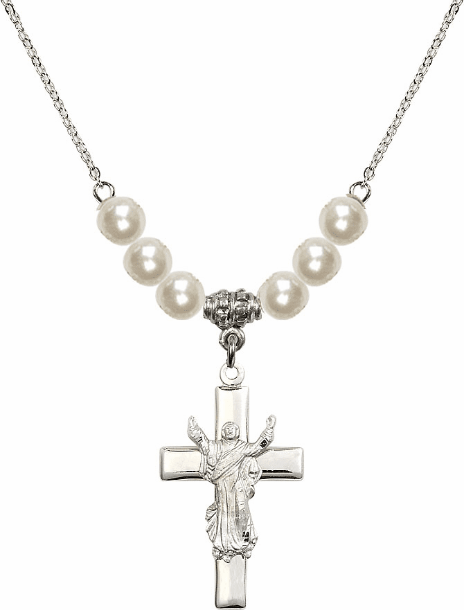 Sterling Silver Risen Jesus Christ Cross Sterling 6mm Faux Pearlsl Necklace by Bliss Mfg