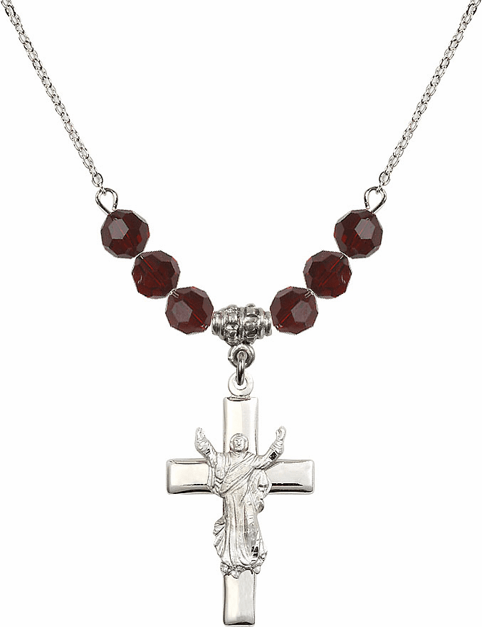 Sterling Silver Risen Jesus Christ Cross Sterling 6mm January Garnet Swarovski Crystal Necklace by Bliss Mfg