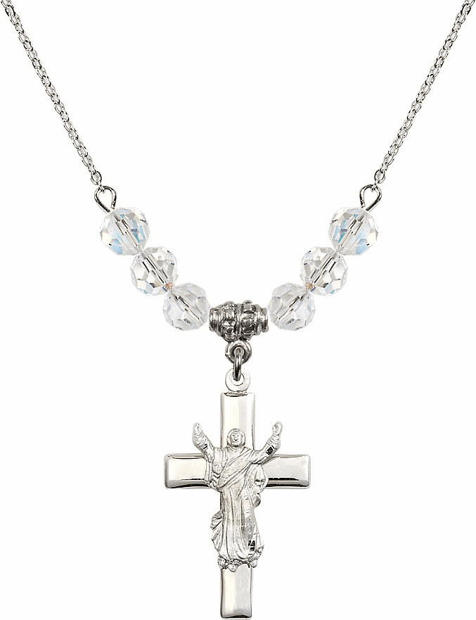 Sterling Silver Risen Jesus Christ Cross Sterling April 6mm Swarovski Crystal Necklace by Bliss Mfg