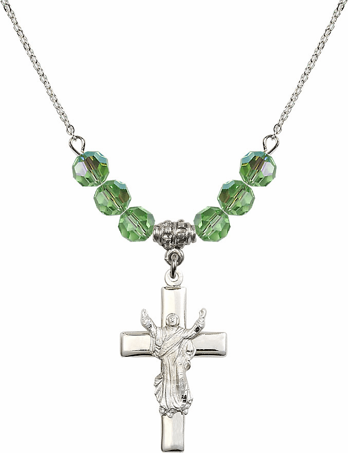 Sterling Silver Risen Jesus Christ Cross Sterling August Peridot 6mm Swarovski Crystal Necklace by Bliss Mfg