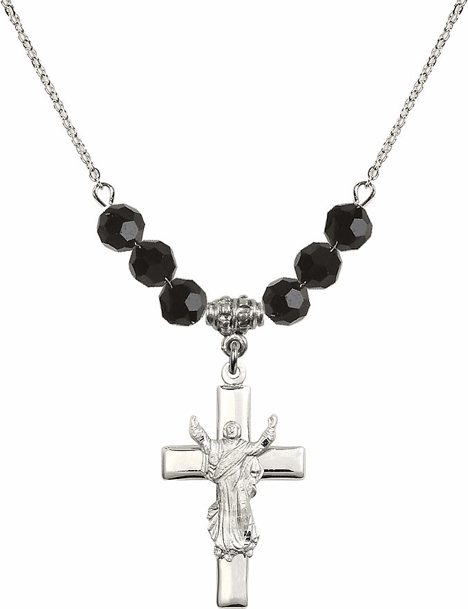 Sterling Silver Risen Jesus Christ Cross Sterling Black Jet 6mm Swarovski Crystal Necklace by Bliss Mfg