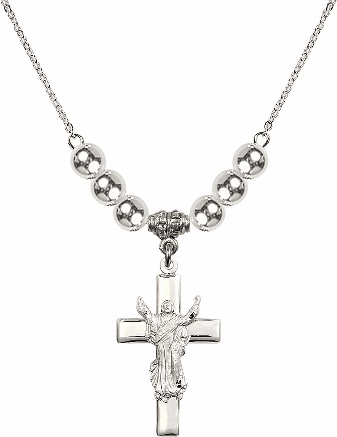Sterling Silver Risen Jesus Christ Cross Sterling Charm w/6mm Silver Beaded Necklace by Bliss Mfg