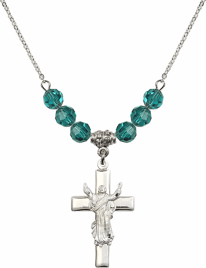Sterling Silver Risen Jesus Christ Cross Sterling December Zircon 6mm Swarovski Crystal Necklace by Bliss Mfg