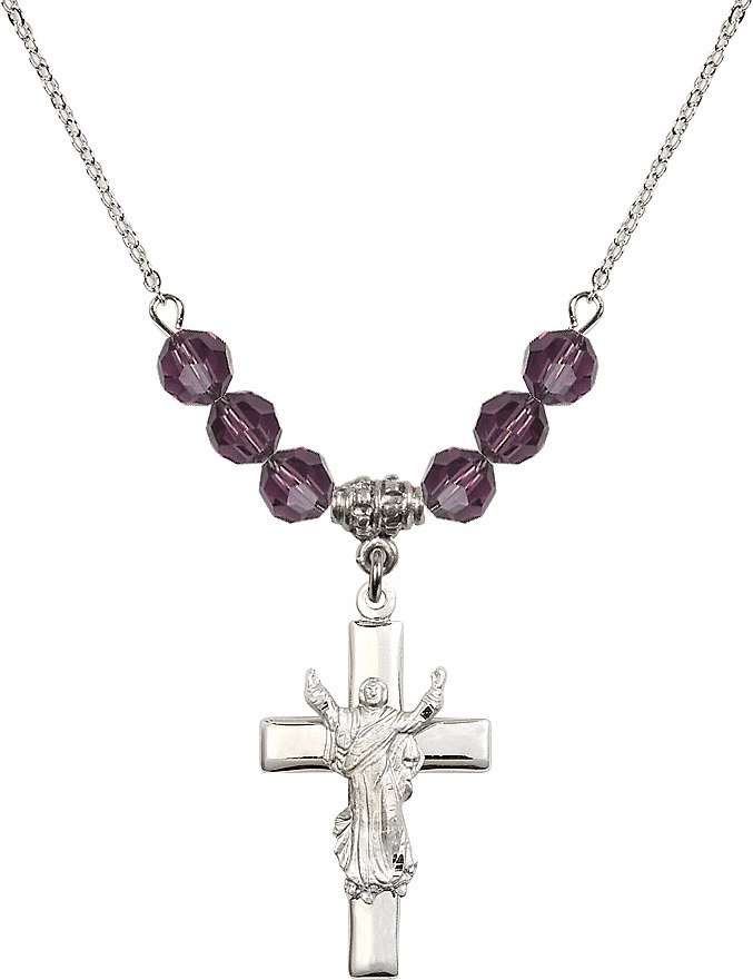 Sterling Silver Risen Jesus Christ Cross Sterling February Amethyst 6mm Swarovski Crystal Necklace by Bliss Mfg