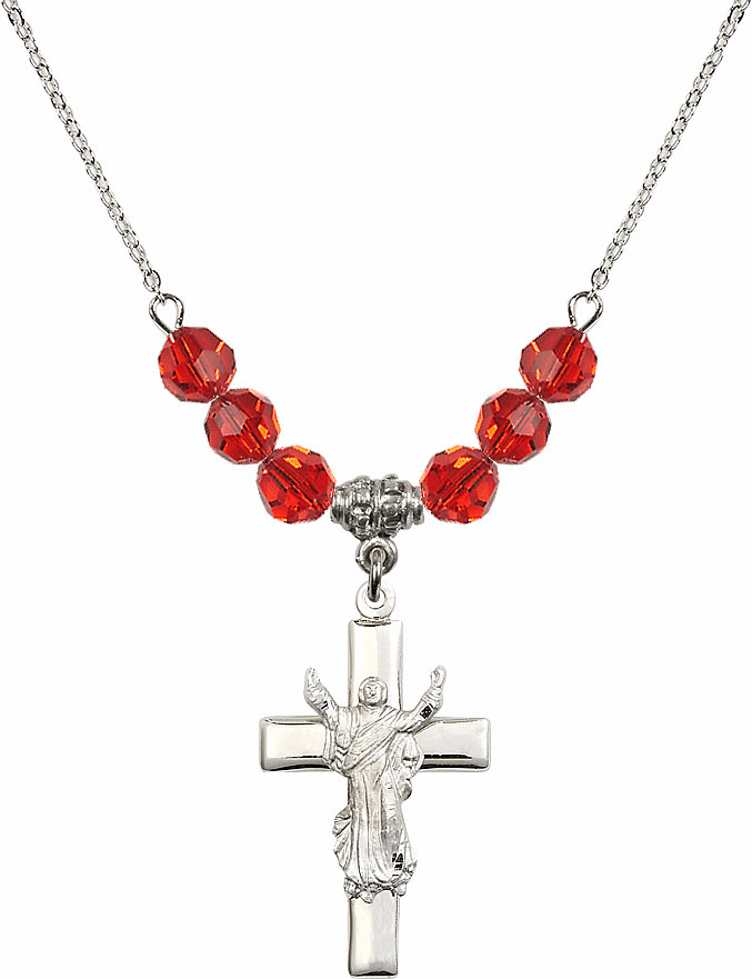 Sterling Silver Risen Jesus Christ Cross Sterling July Ruby 6mm Swarovski Crystal Necklace by Bliss Mfg