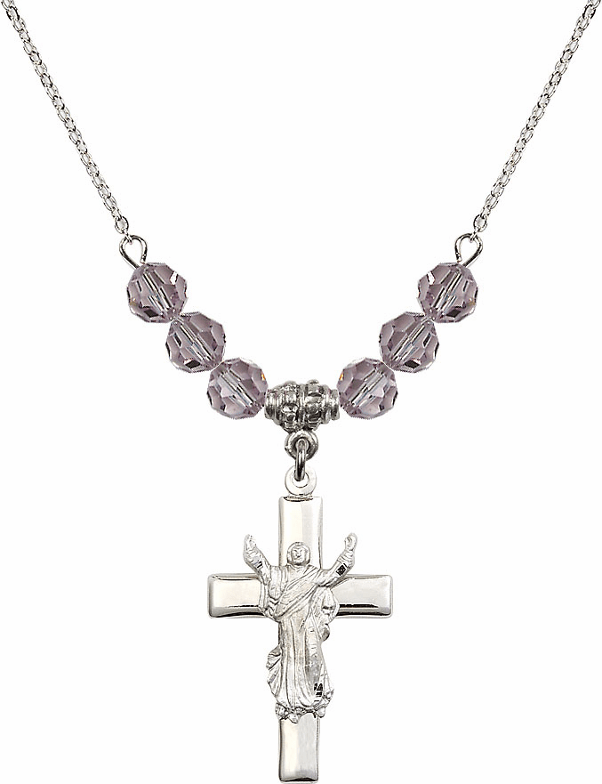 Sterling Silver Risen Jesus Christ Cross Sterling June Lt Amethyst 6mm Swarovski Crystal Necklace by Bliss Mfg