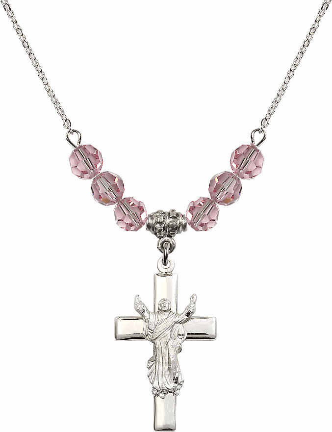 Sterling Silver Risen Jesus Christ Cross Sterling Lt Rose 6mm Swarovski Crystal Necklace by Bliss Mfg