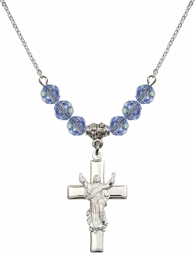 Sterling Silver Risen Jesus Christ Cross Sterling Lt Sapphire 6mm Swarovski Crystal Necklace by Bliss Mfg