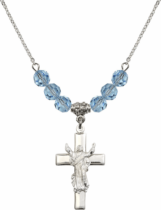 Sterling Silver Risen Jesus Christ Cross Sterling March Aqua 6mm Swarovski Crystal March Aqua Necklace by Bliss Mfg
