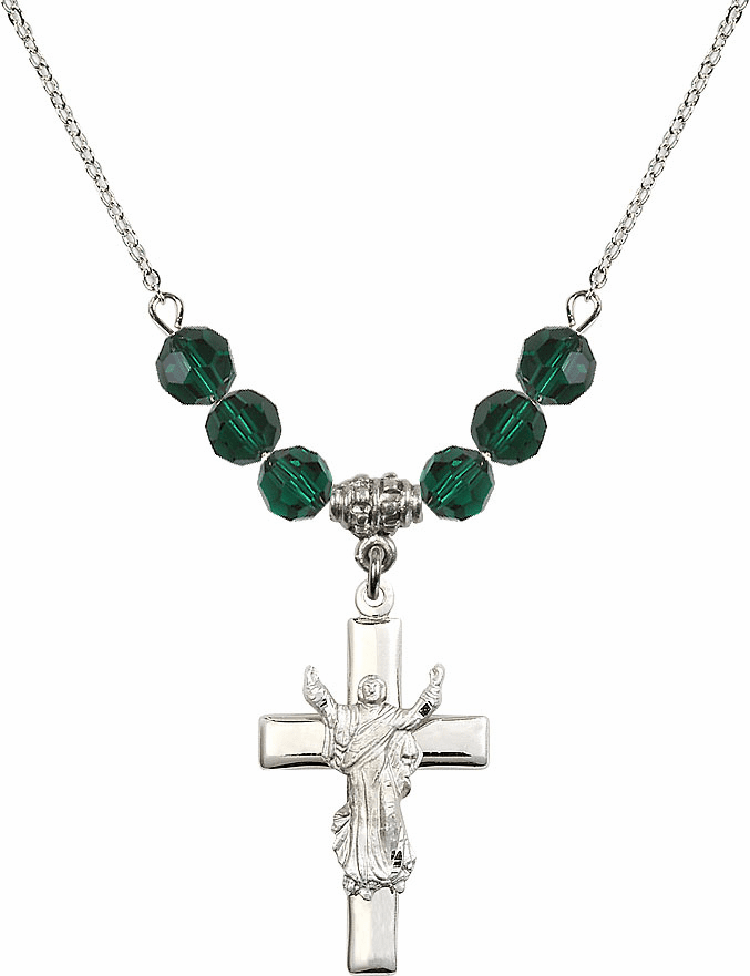 Sterling Silver Risen Jesus Christ Cross Sterling May Emerald 6mm Swarovski Crystal Necklace by Bliss Mfg