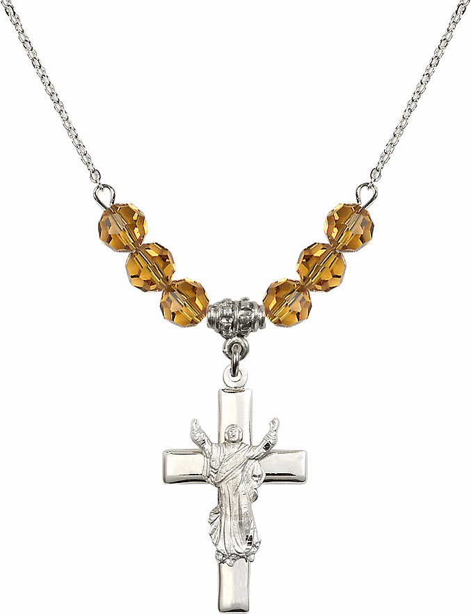 Sterling Silver Risen Jesus Christ Cross Sterling November Topaz 6mm Swarovski Crystal Necklace by Bliss Mfg