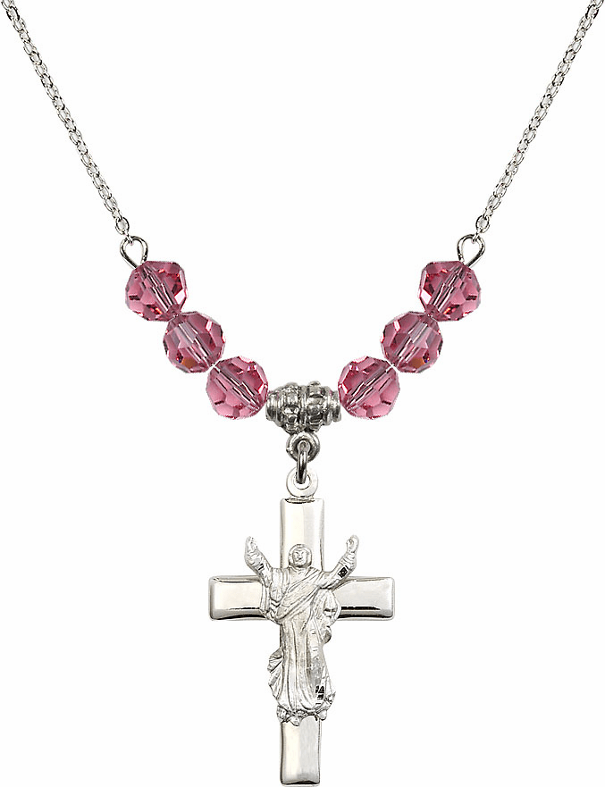 Sterling Silver Risen Jesus Christ Cross Sterling October Rose 6mm Swarovski Crystal Necklace by Bliss Mfg