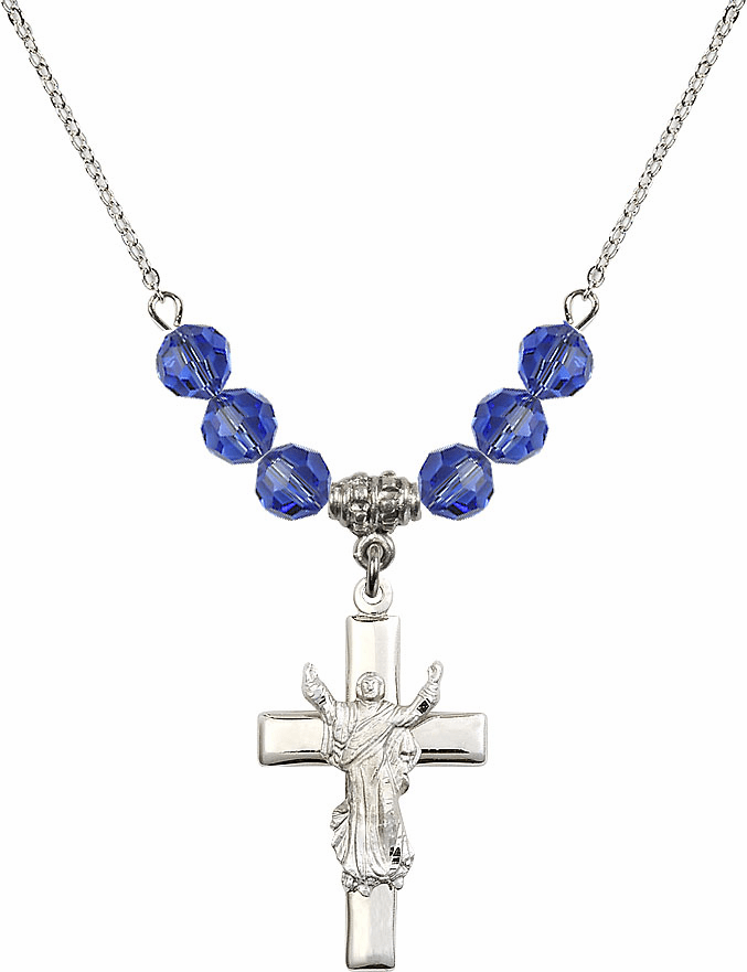 Sterling Silver Risen Jesus Christ Cross Sterling September Sapphire 6mm Swarovski Crystal Necklace by Bliss Mfg
