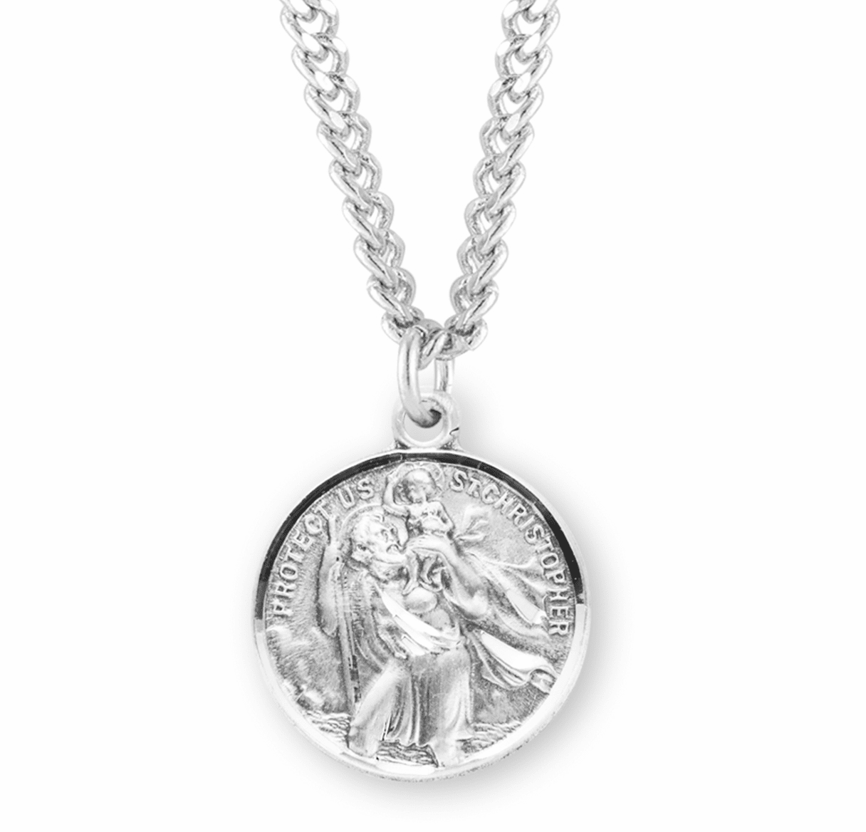 Sterling Silver Round St. Christopher & St. Raphael Necklace by HMH Religious