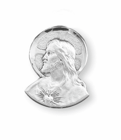 Sterling Silver Sacred Heart of Jesus Lapel Pin w/Deluxe Screw by HMH Religious