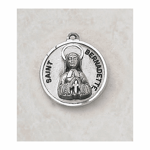 Sterling Silver Saint Bernadette Medal Necklace by Creed Jewelry