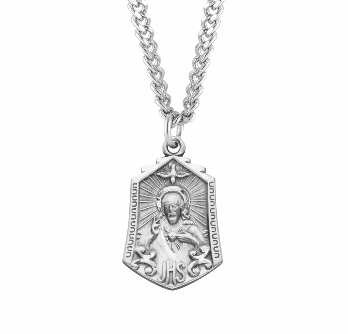Sterling Silver Scapular Medal w/Heart Necklace by HMH Religious