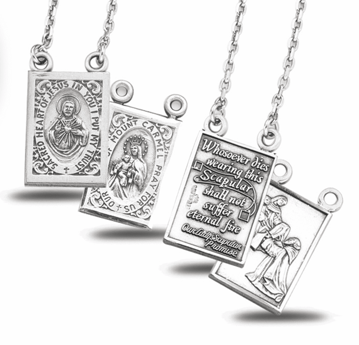 HMH Religious O/L of Mount Carmel and Scared Heart Sterling Silver Scapular Medal Set