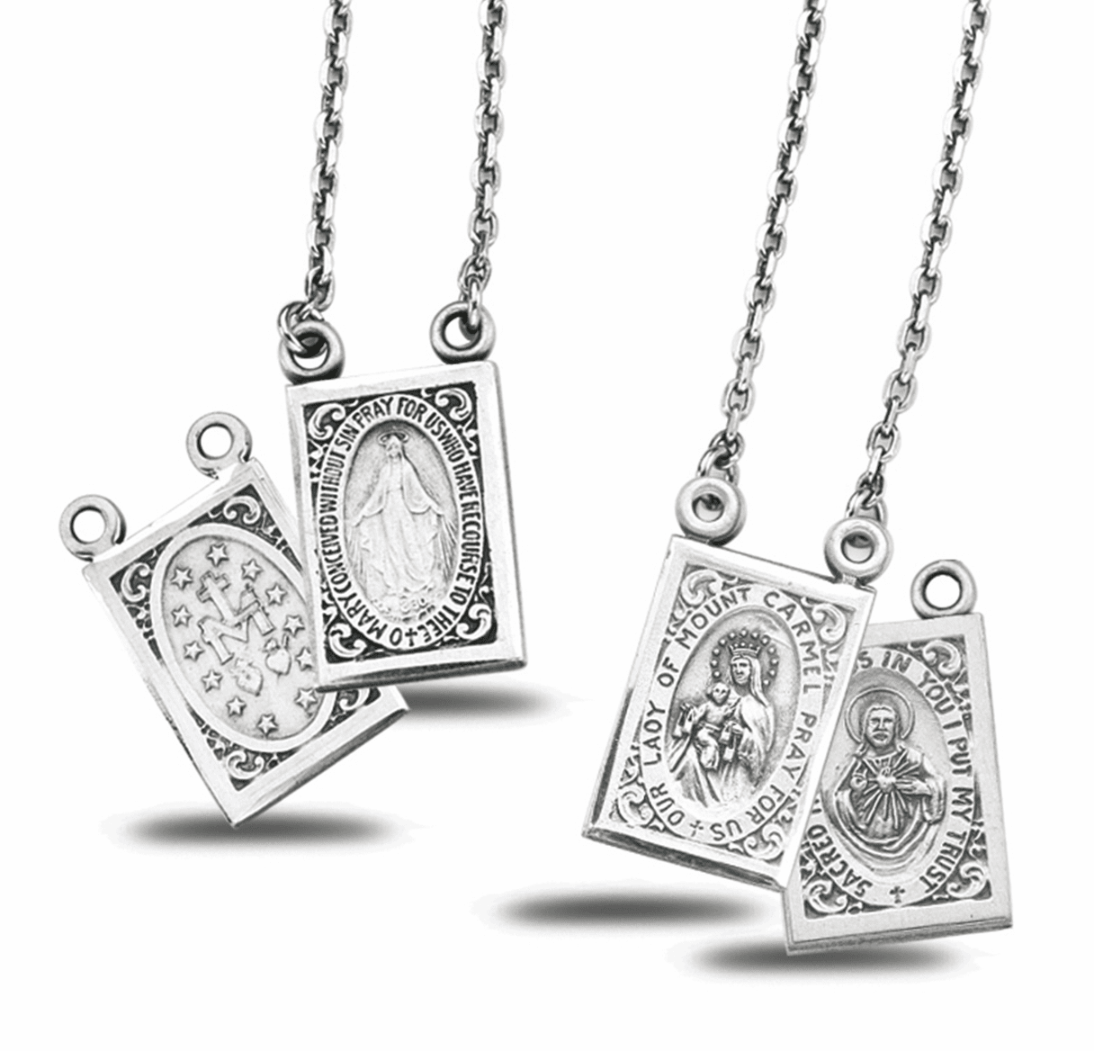 HMH Religious Sterling Scapular Mt Carmel & Sacred Heart Necklace