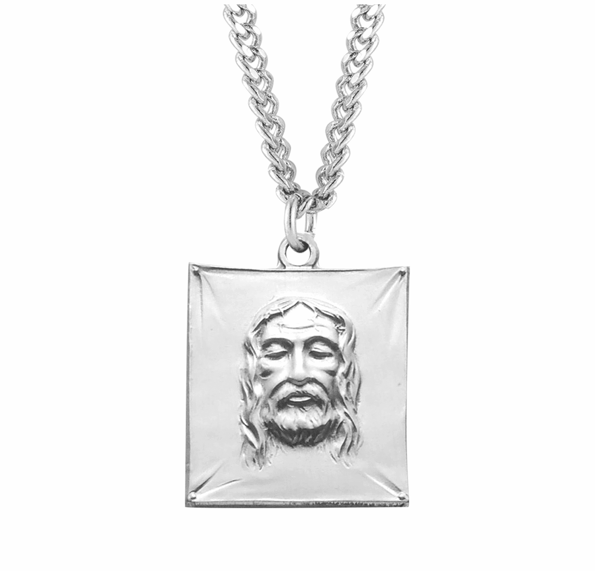 Sterling Silver Shroud Medal Necklace by HMH Religious