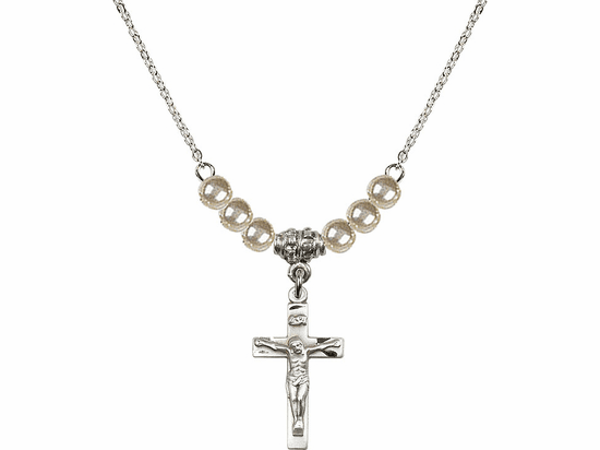Sterling Silver Small Crucifix Sterling 4mm Faux Pearlsl Necklace by Bliss Mfg
