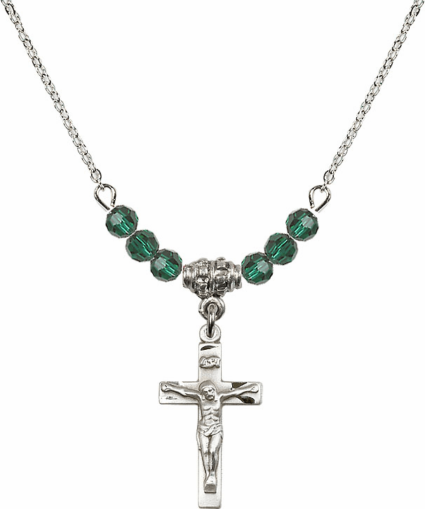 Sterling Silver Small Crucifix Sterling May Emerald 4mm Swarovski Crystal Necklace by Bliss Mfg