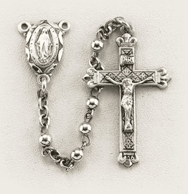 Sterling Silver Small Plain Round Prayer Rosary by HMH Religious