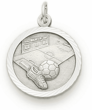 Singer Sterling Silver Soccer Player Medal Necklace with Cross on Back